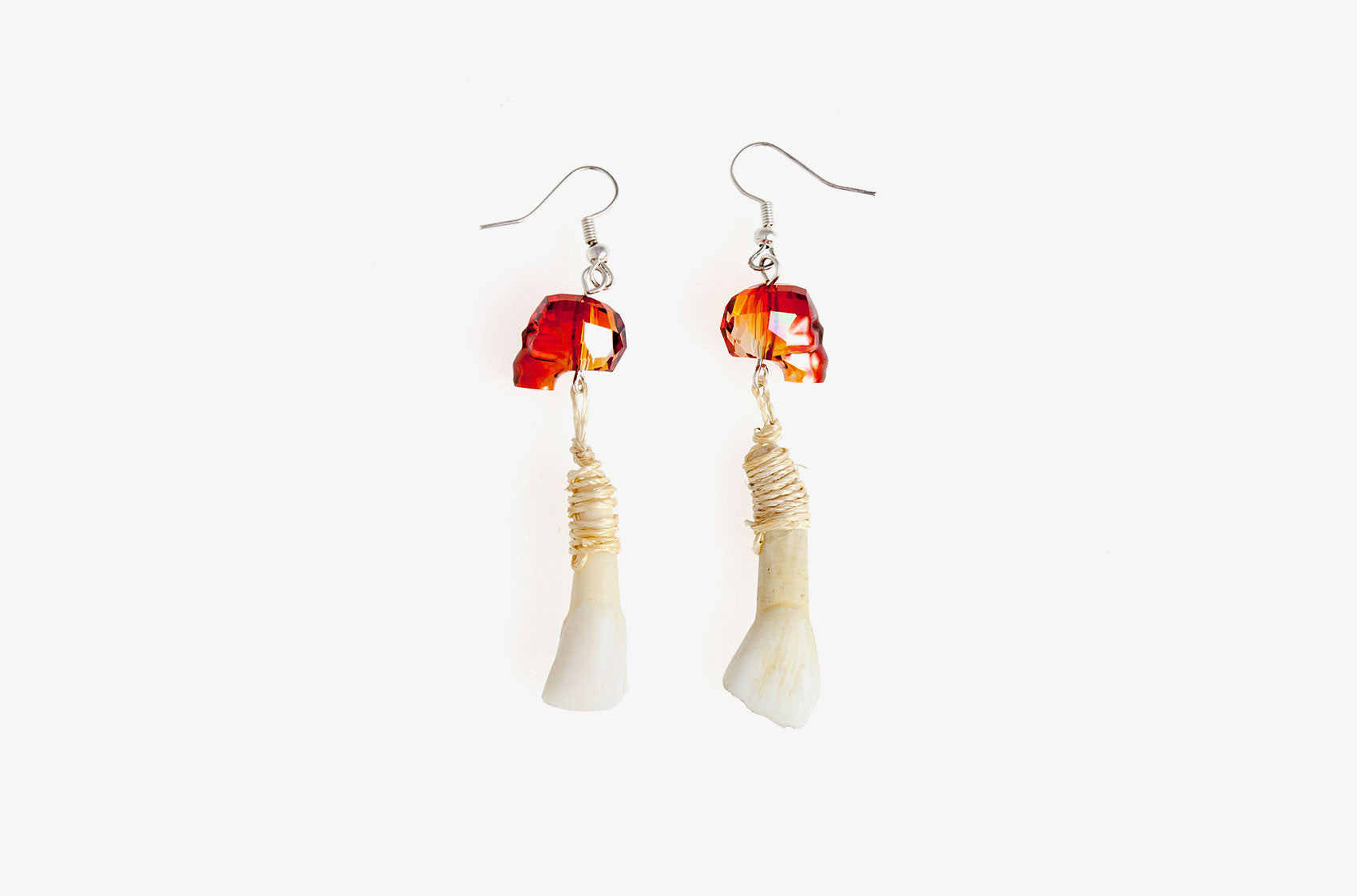 Skull & Bone. Magma Swarovski earrings