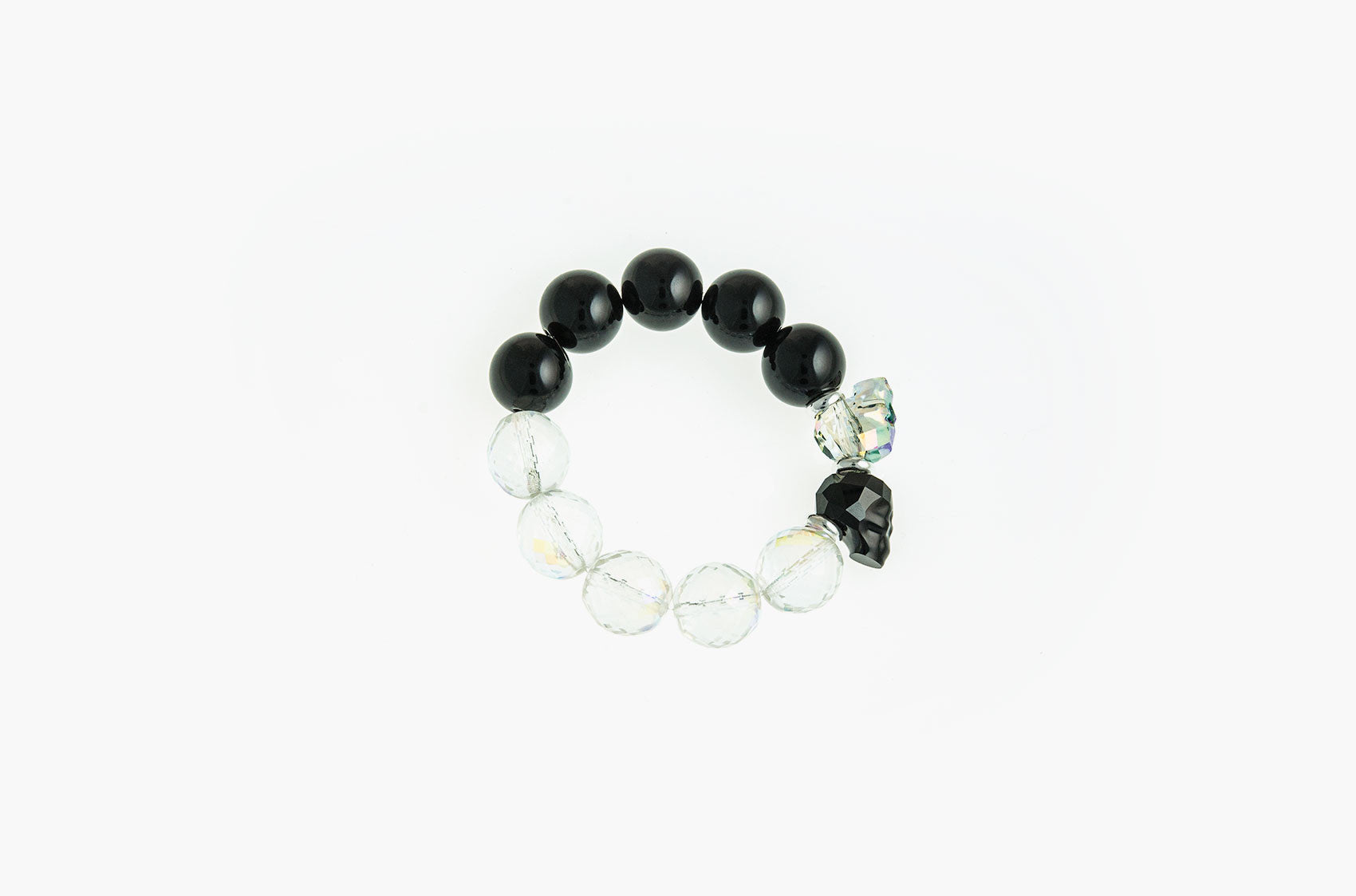 Skull & Stone. Onyx, crystal and silver bracelet