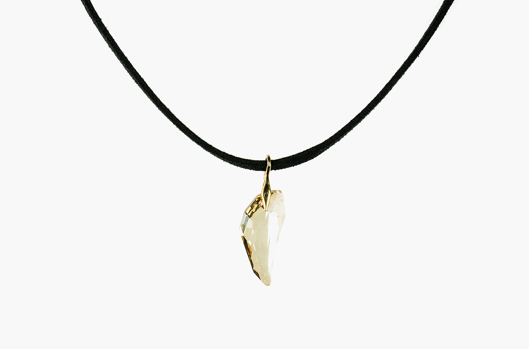 Swarovski Wolf Tooth leather choker golden shadow