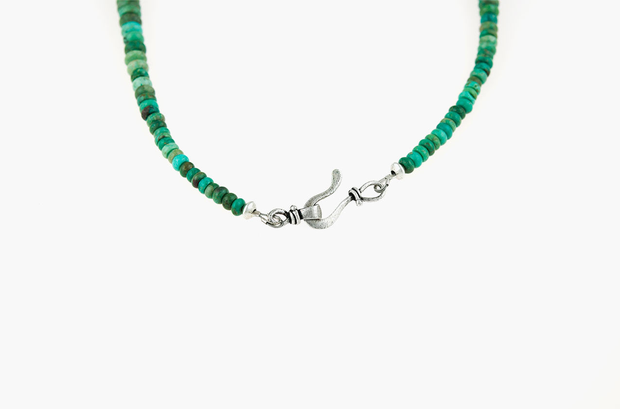 Tribal turquoise disc necklace back