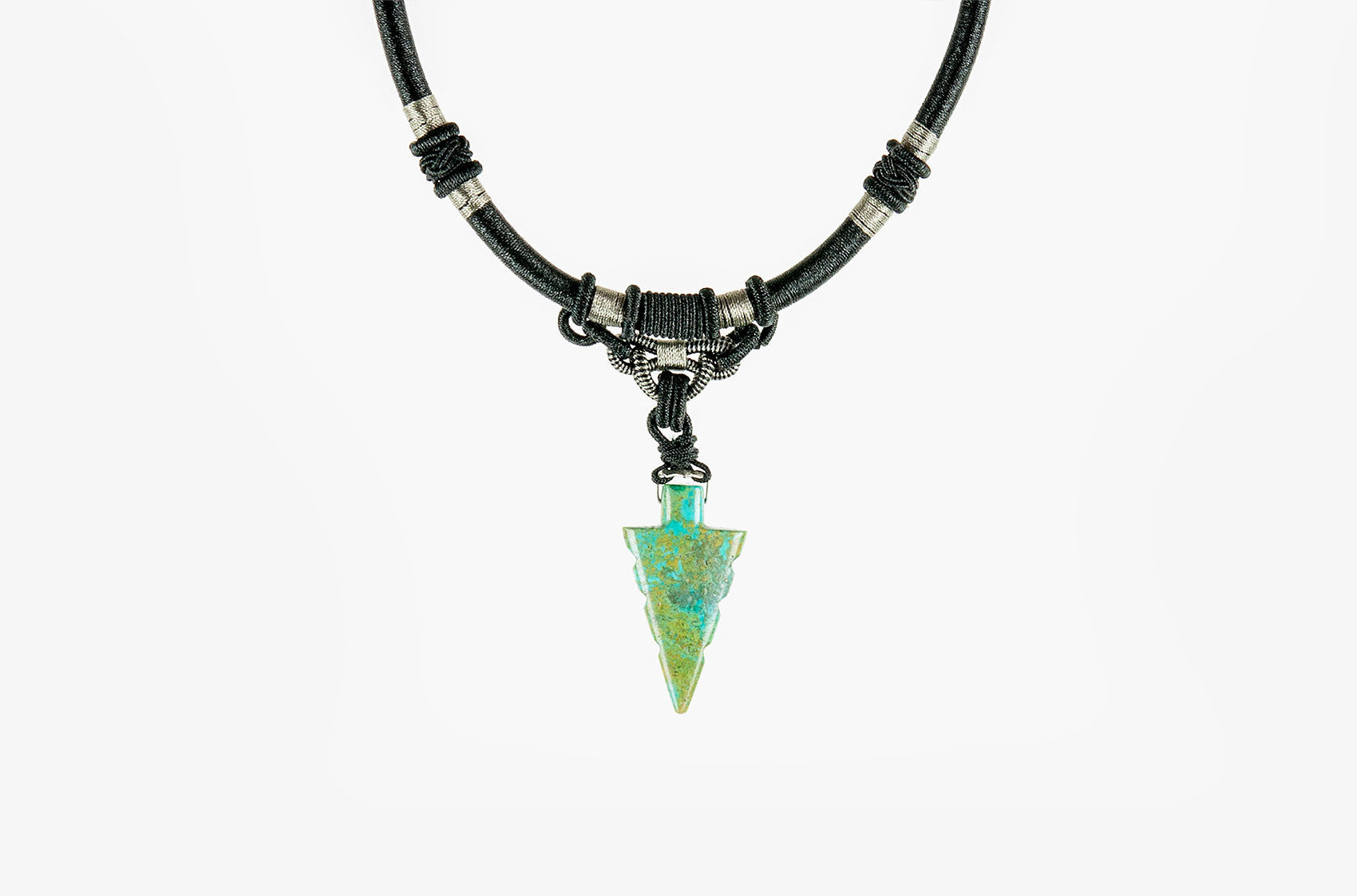 Tribal woven necklace with jade arrow pendant