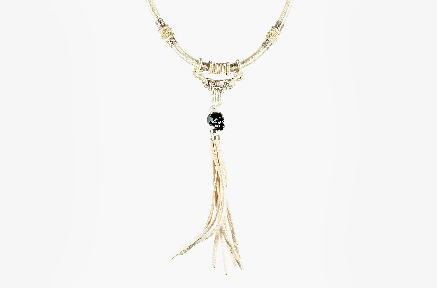 Tribal woven necklace with skull and tassel