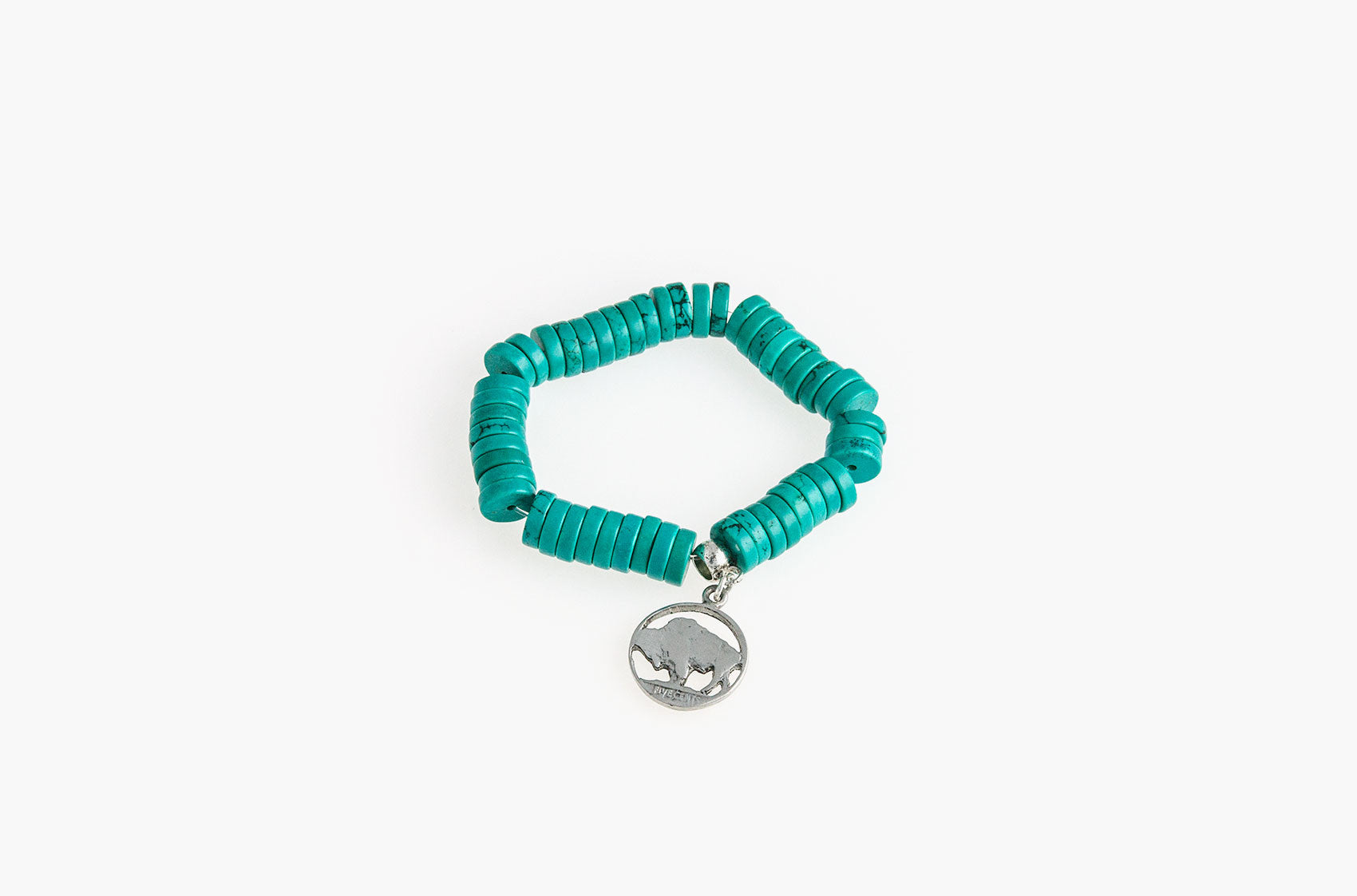 Turquoise and buffalo coin charm bracelet