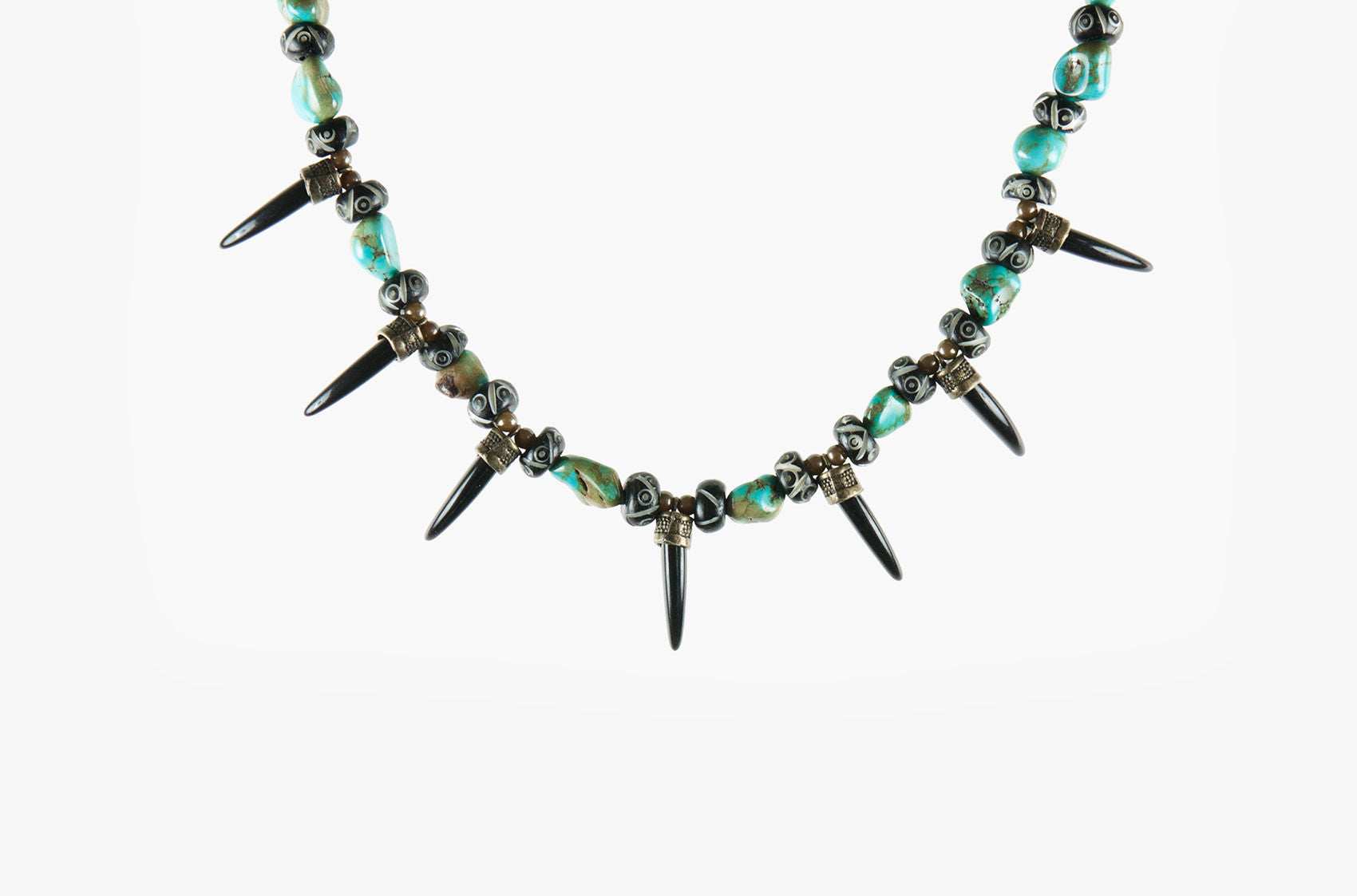 Turquoise and Teeth. Fierce tribal necklace with bone
