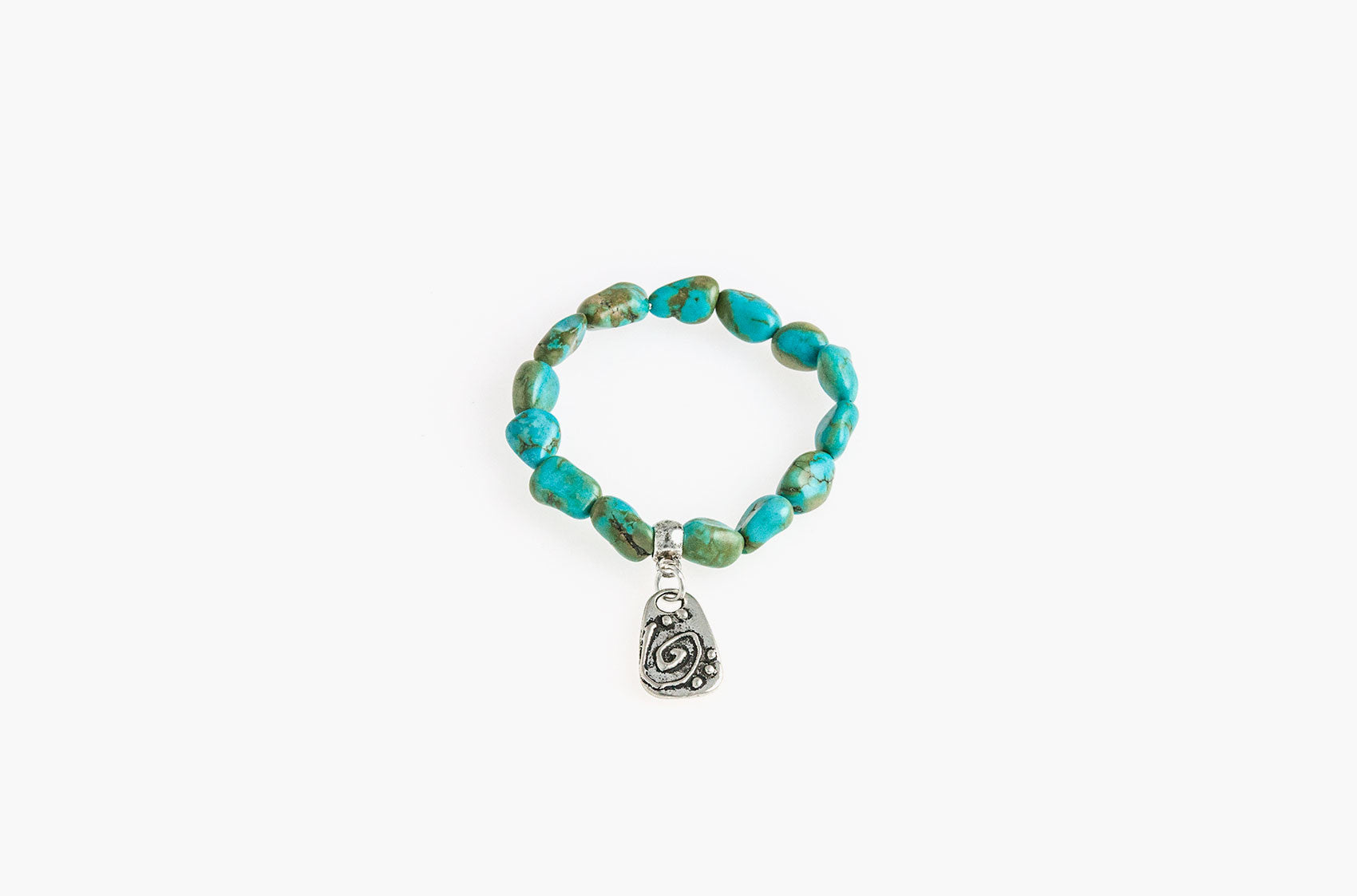 Turquoise nuggets and tribal charm bracelet