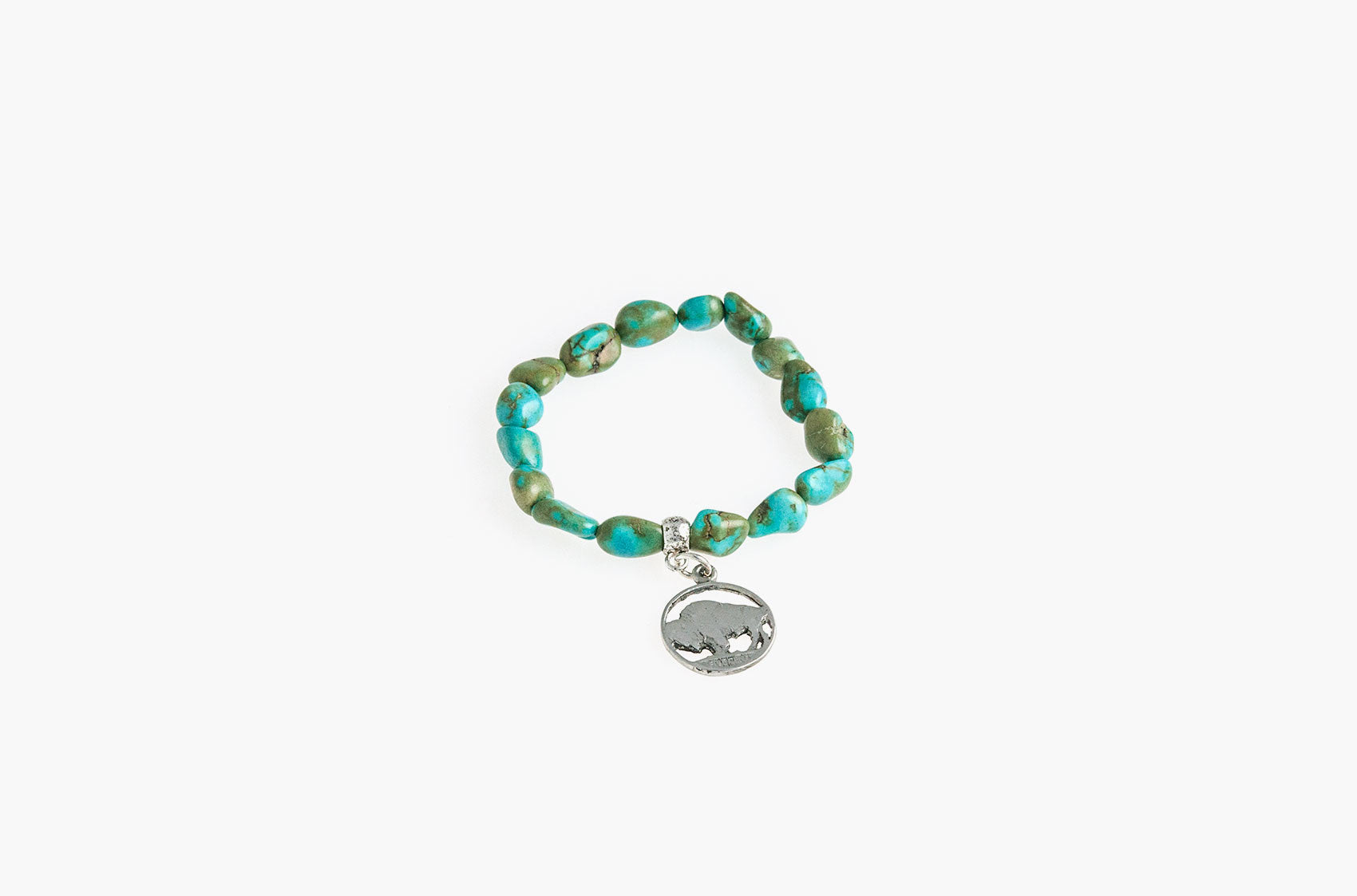 Turquoise nuggets with buffalo charm bracelet