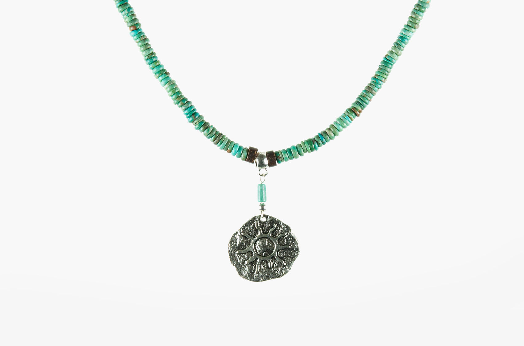 Turquoise sun medallion necklace
