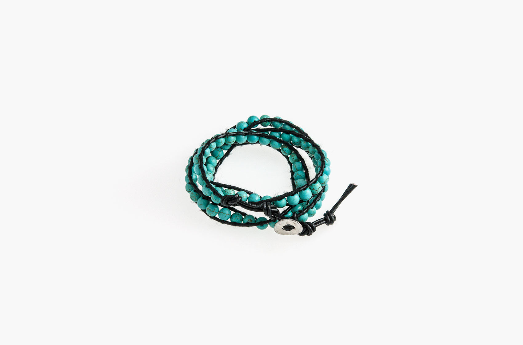 Turquoise wrap bracelet with black leather