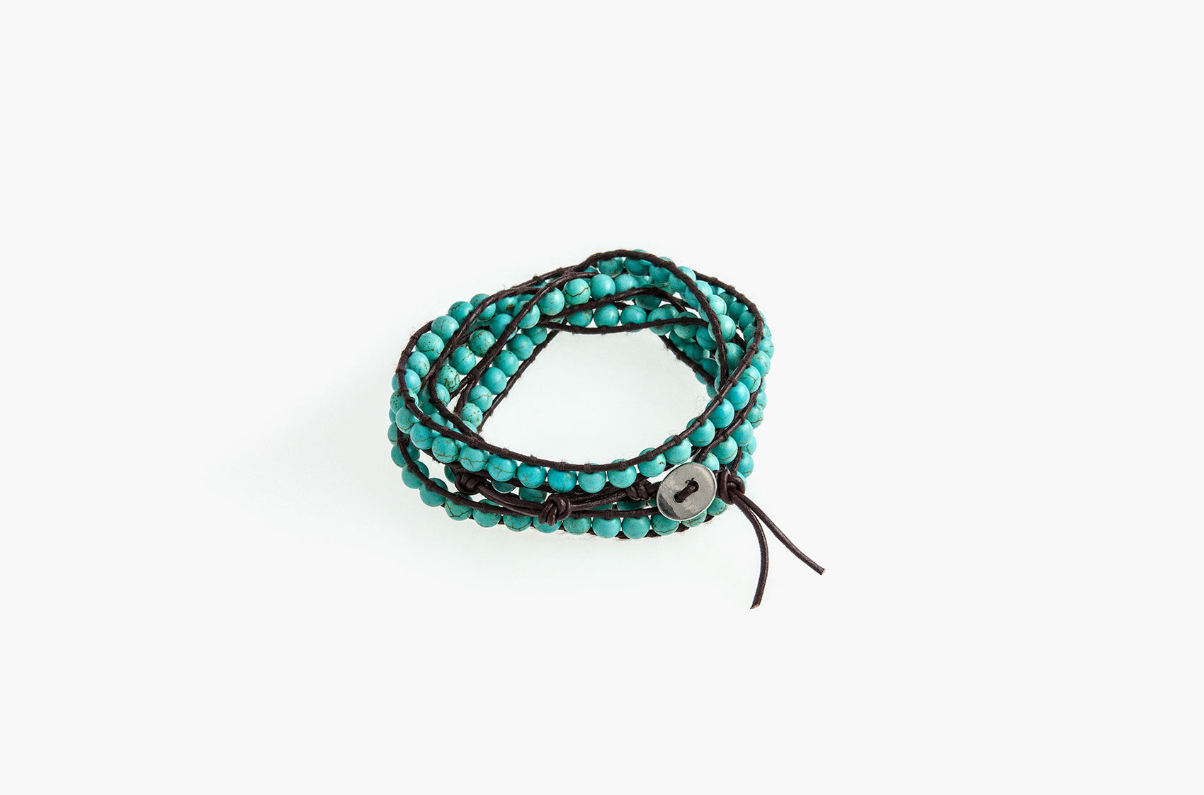 Turquoise wrap bracelet with brown leather