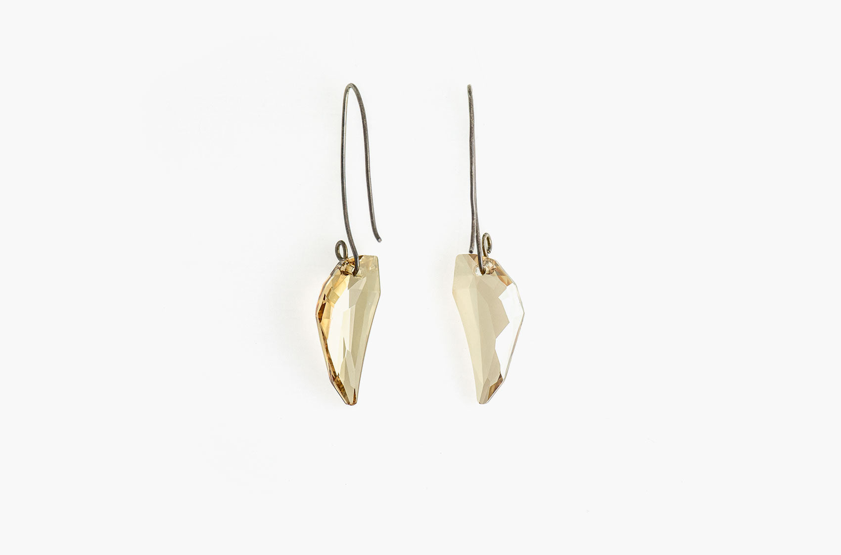 Wolf's Tooth. Swarovski drop Golden Shadow earrings