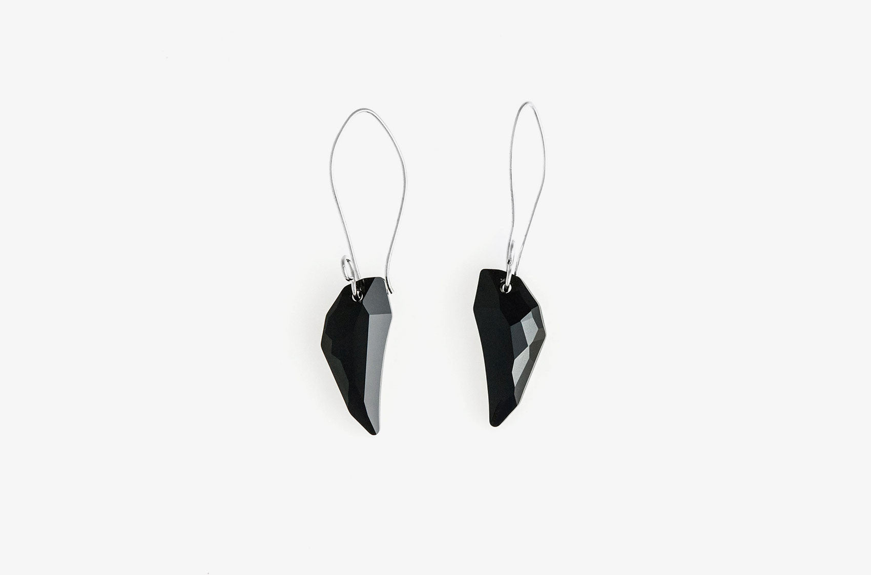 Wolf's Tooth. Swarovski drop Jet earrings