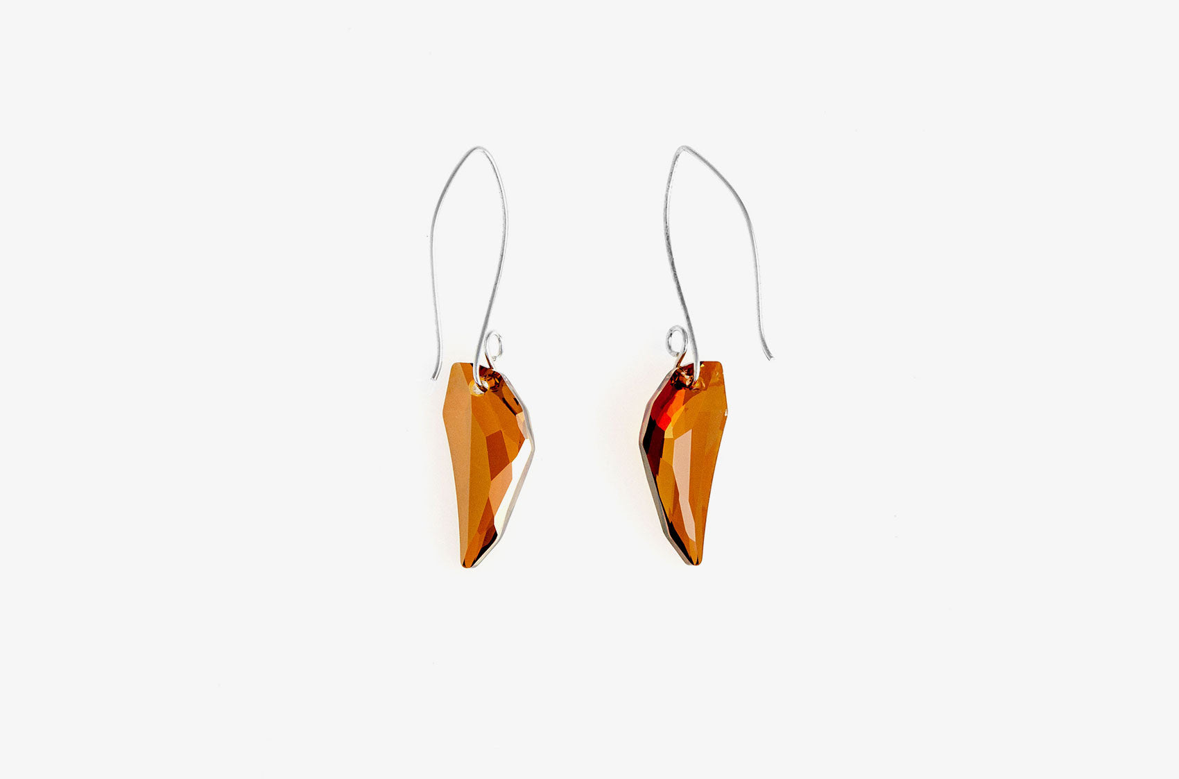 Wolf's Tooth. Swarovski drop Volcano earrings