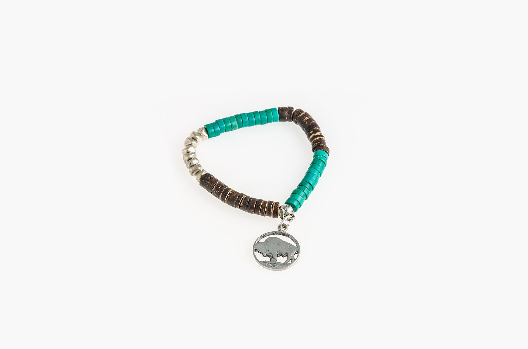 Wood, metal and turquoise coin-charm bracelet