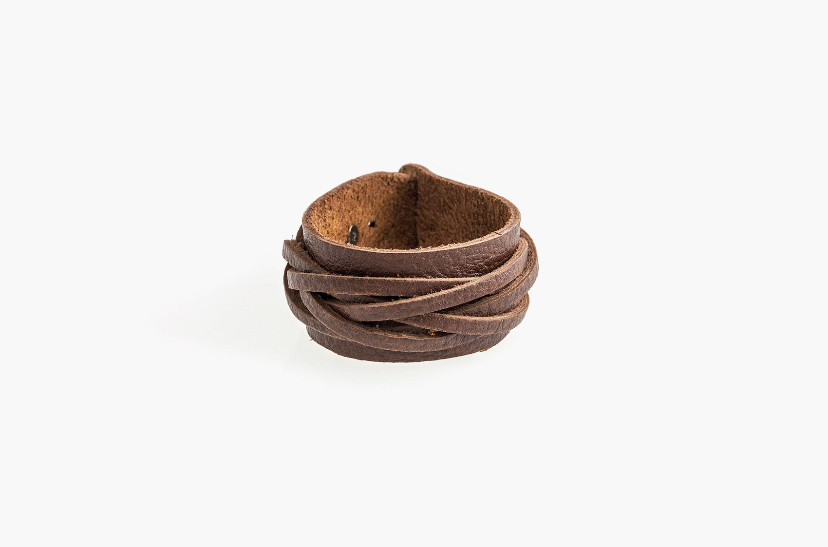 Woven leather wide wristband bracelet