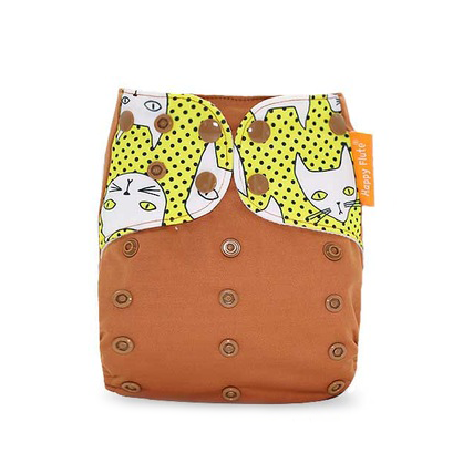 Pocket Diaper - Brown Cats
