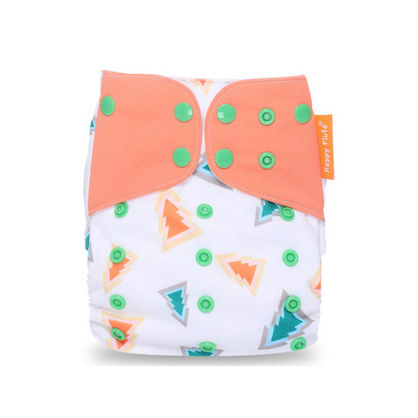 Pocket Diaper - Pine Trees With Coral Tabs