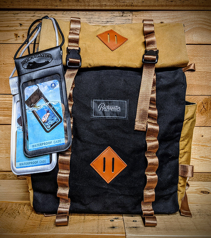 BUNDLE SPECIAL LIFEstyle Phoenix Waxed Canvas Backpack and 2 Rapids Waterproof Phone Pouches ($140 Value)