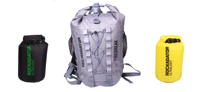 Bundle Special Firebreak Grey Ultralight 25-Liter Waterproof Backpack with Bonus Dry Bags + BLACK FRIDAY PHONE POUCHES