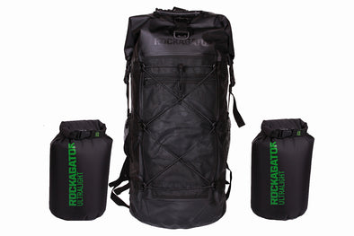 Bundle Special Kanarra 90L BLACK Waterproof Backpack and 2 Ultralight Dry Bags