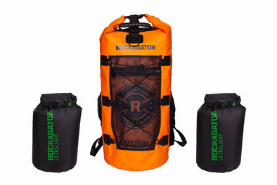 Bundle Special Kanarra 90L Sunset Orange Waterproof Backpack and 2 Ultralight Dry Bags