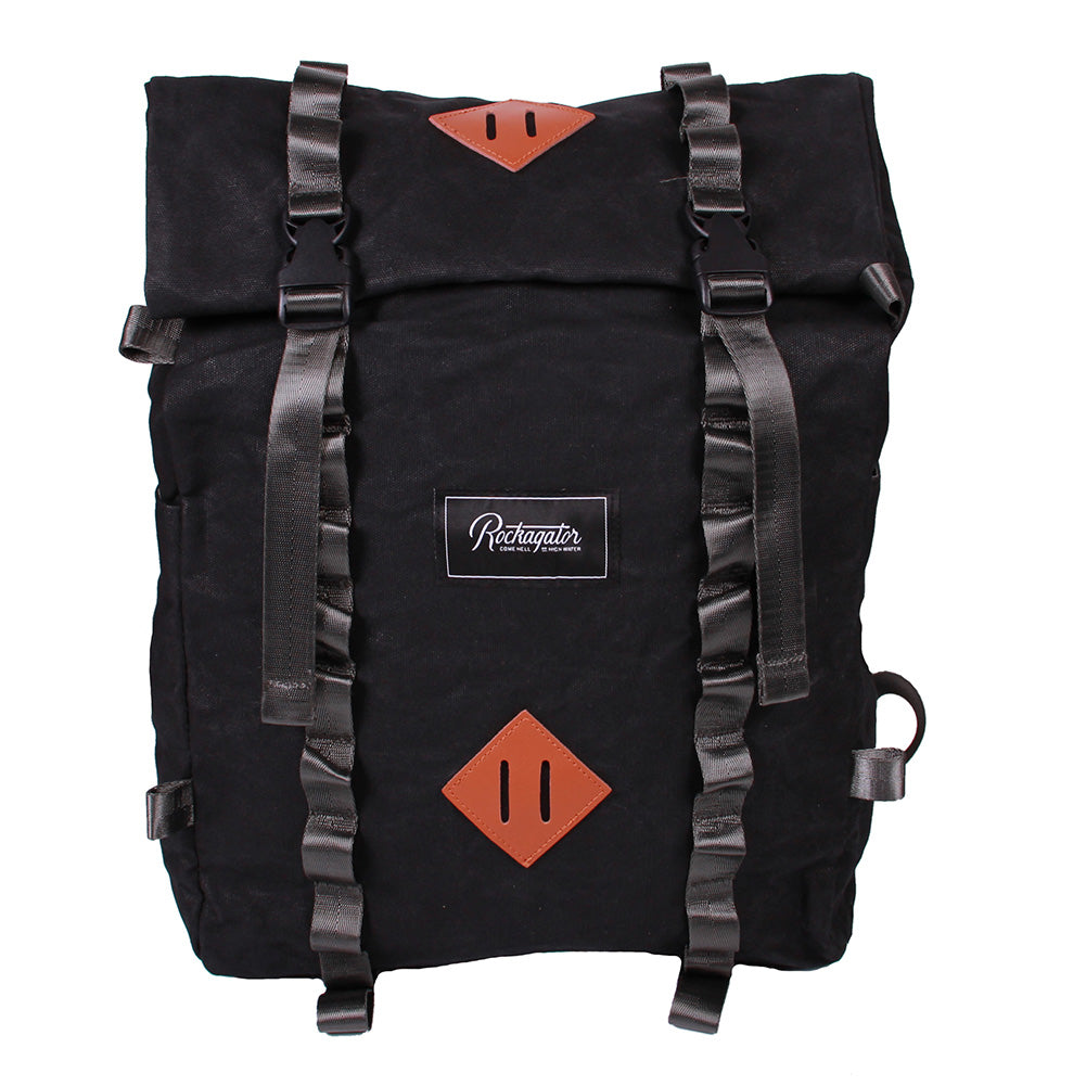 Bundle Special Rockagator LIFEstyle Phoenix Waxed Canvas Roll-Top Backpack and 2 Waterproof Phone Pouches (Black)