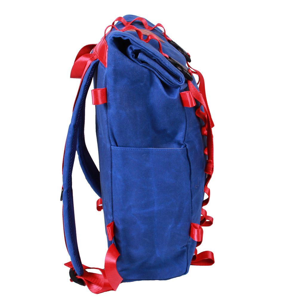 Bundle Special Rockagator LIFEstyle Phoenix Waxed Canvas Roll-Top Backpack and 2 Waterproof Phone Pouches (Blue/Red)