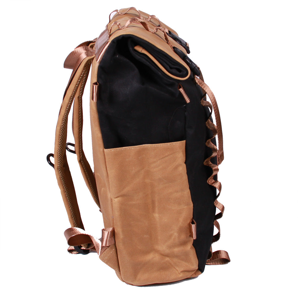 Bundle Special Rockagator LIFEstyle Phoenix Waxed Canvas Roll-Top Backpack and 2 Waterproof Phone Pouches (TAN/BLACK)
