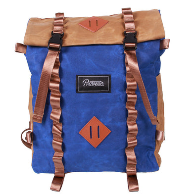 Bundle Special Rockagator LIFEstyle Phoenix Waxed Canvas Roll-Top Backpack and 2 Waterproof Phone Pouches (Blue/TAN))