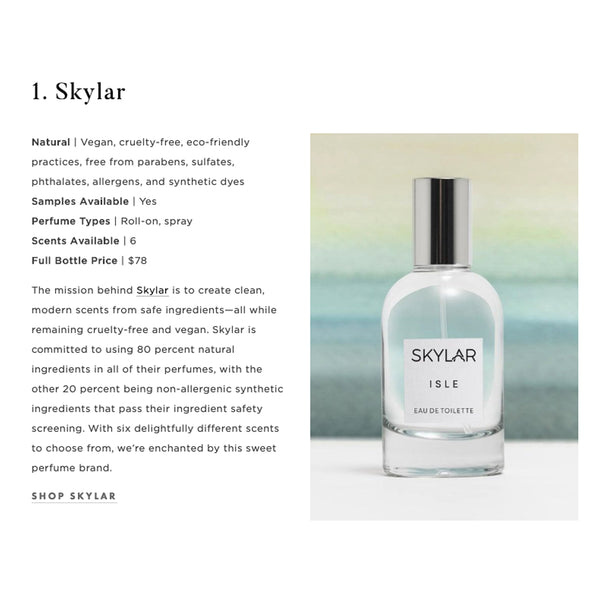 Skylar Chosen as a Beautiful Non-Toxic Perfume Choice