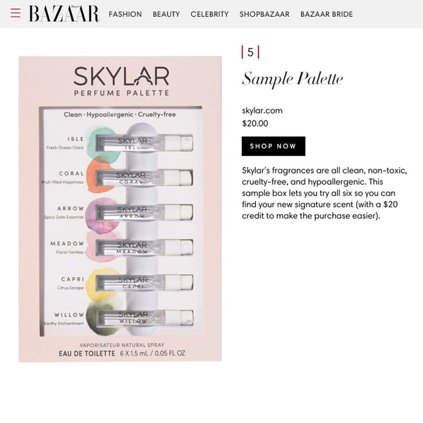 Harper's Bazaar Names Skylar as One of the Best Natural and Organic Perfumes