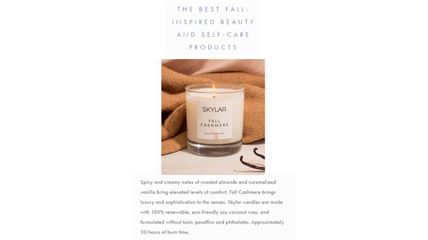 Spa & Beauty Rate Fall Cashmere Candle As The Fall's Best Self Care Product