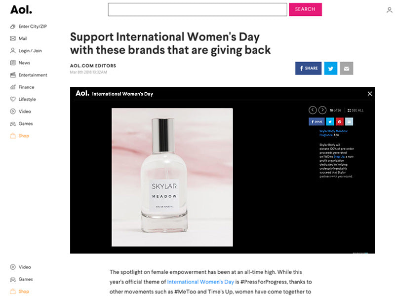 AOL: Skylar Gives Back & Supports International Women's Day