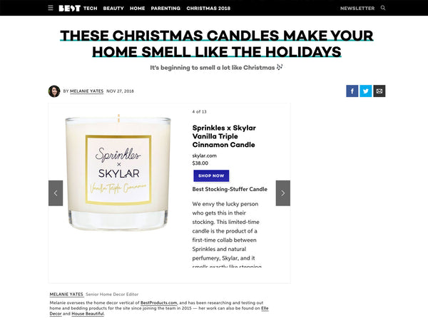 Best Products: Skylar Natural Candle Makes Home Smell Like Holidays