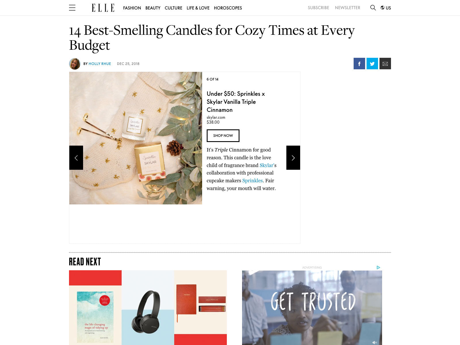 Skylar Candle: Best Smelling Cozy Candle on Elle