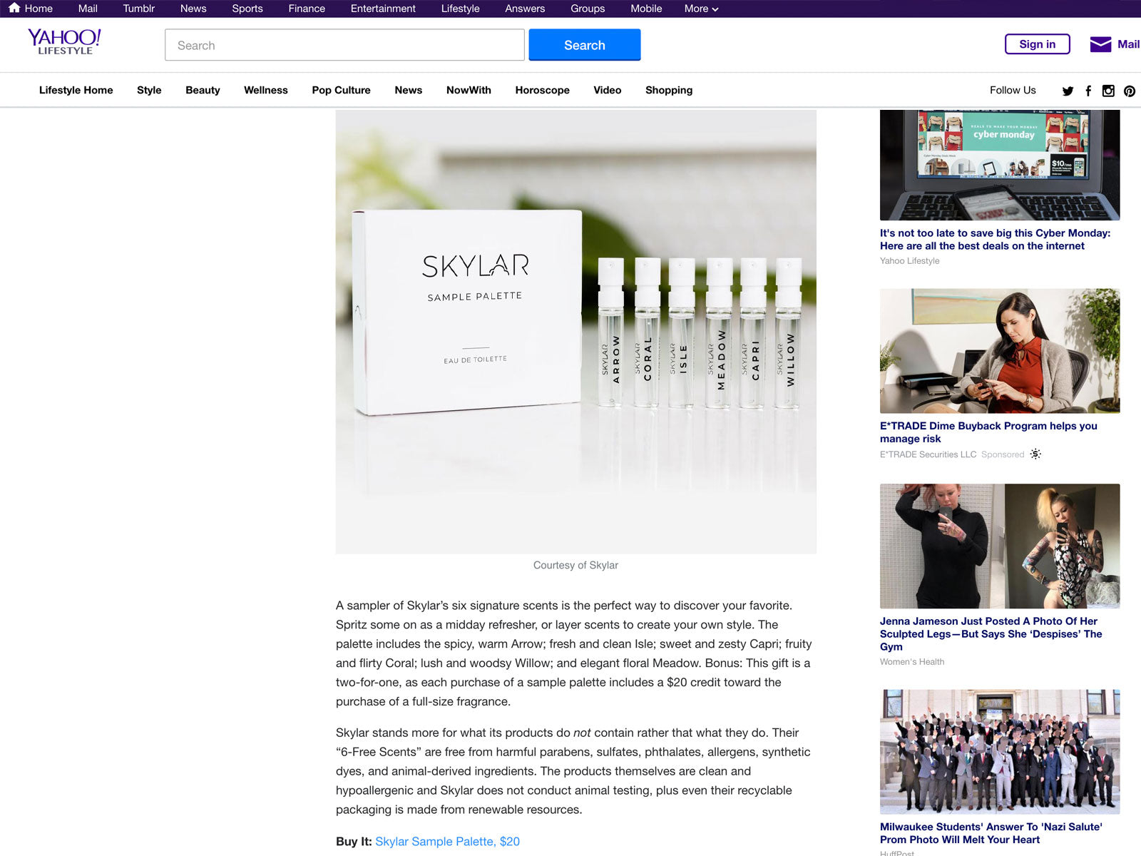 Yahoo Lifestyle: Skylar Natural Perfume-Perfect Stocking Stuffer