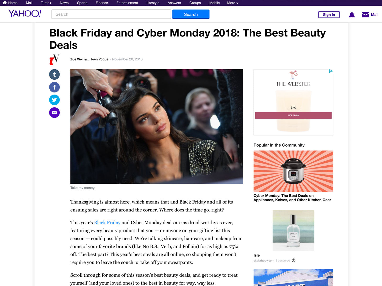 Yahoo Lists Skylar Brand For Best Black Friday Cyber Monday Deals
