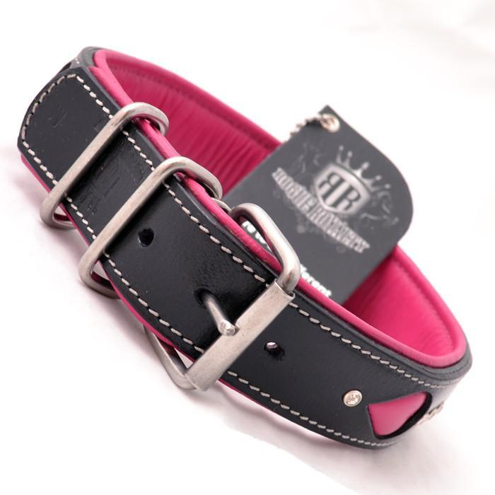 Back view Stunning handmade pink and black leather dog collar with carved leather and genuine swarovski crystals set into quality leather base. Stainless steel D-Shackle and fittings