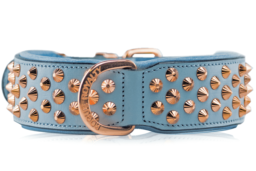 Leather Dog Collar - Imperial Baby Blue Rose Gold
