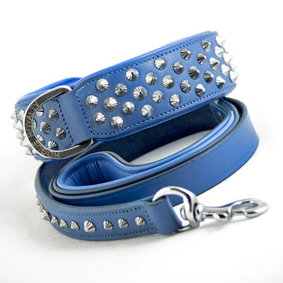 Leather Dog Leash - Imperial Blue