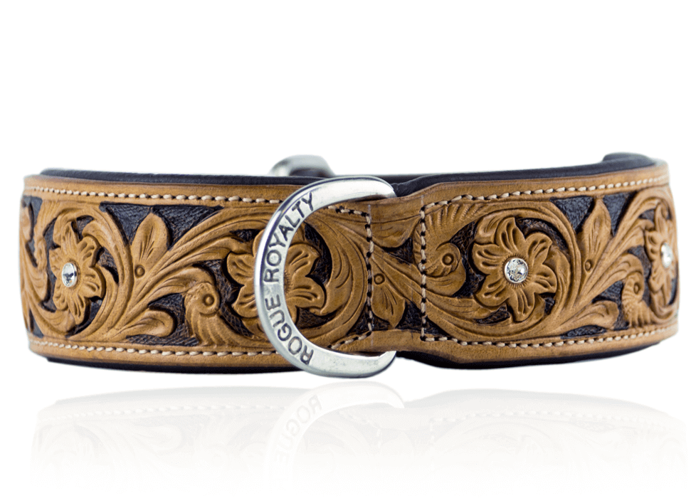 Leather Dog Collar - Carved