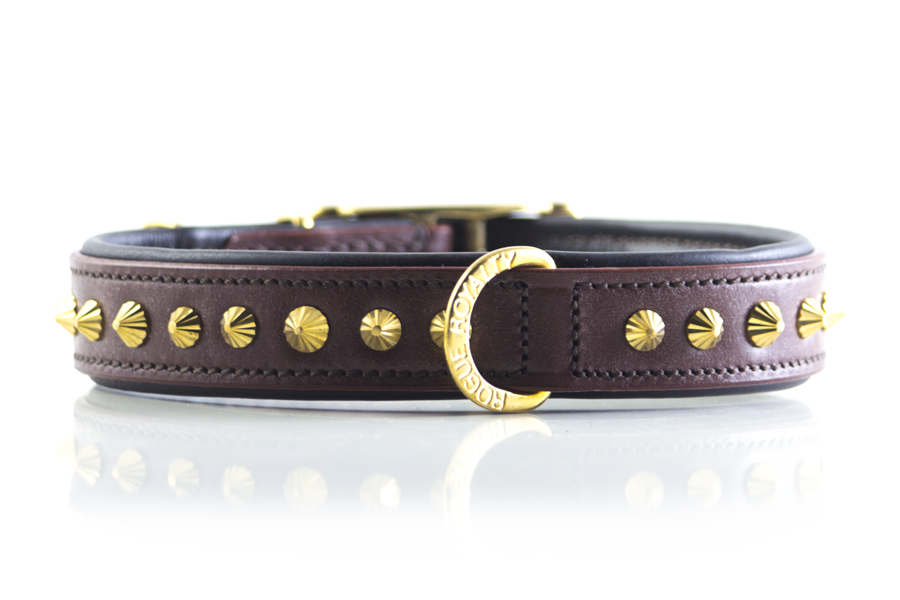 Buy Ruthless Brown & Brass Slimfit Dog Collar