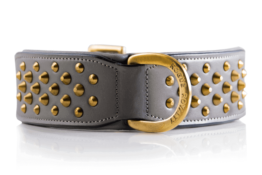 "Brass & Grey Leather Dog Collar -  ""RuffNeck"""