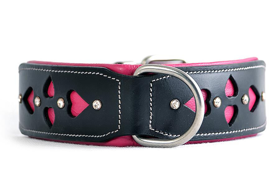 Pink and black hand carved leather dog collars with hearts and diamontes. Designed in Australia for large dogs.