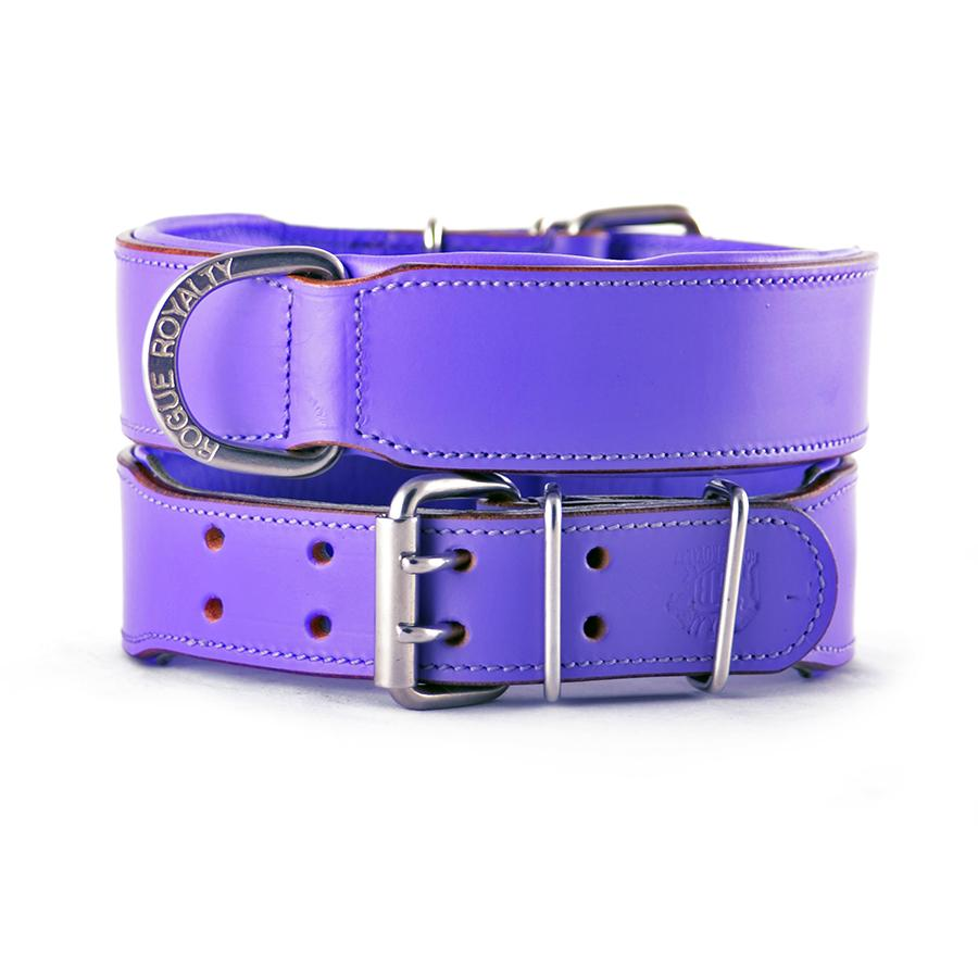 Front and back view of our purple plain hand made leather dog collar. Stainless steel fittings. Guaranteed to last 10 years!