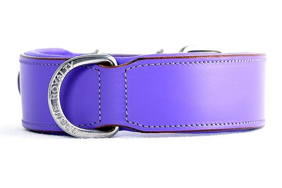 Side view of our purple plain hand made leather dog collar. Stainless steel fittings. Guaranteed to last 10 years!