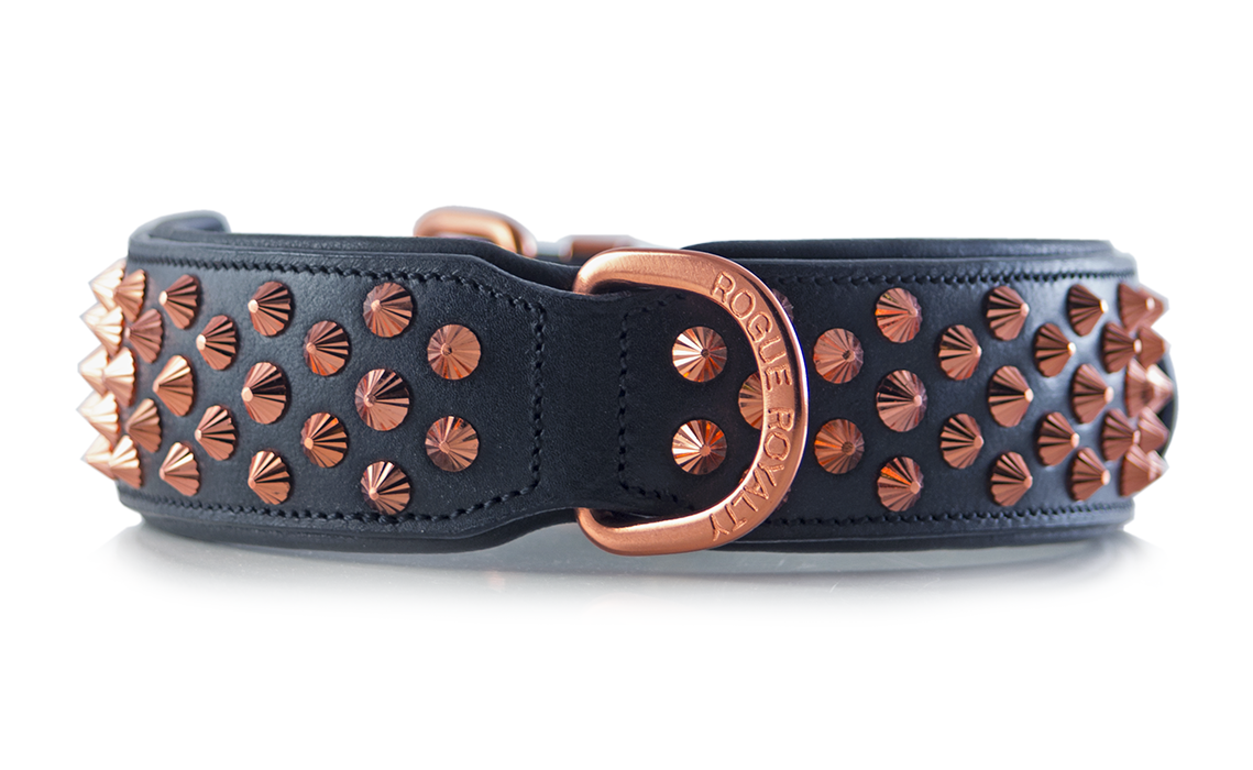 Handmade leather and rose gold leather dog collar