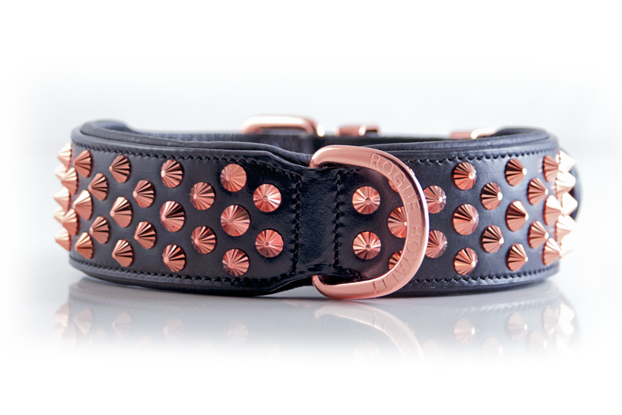 Dog Collar - RUTHLESS BLACK & ROSE GOLD