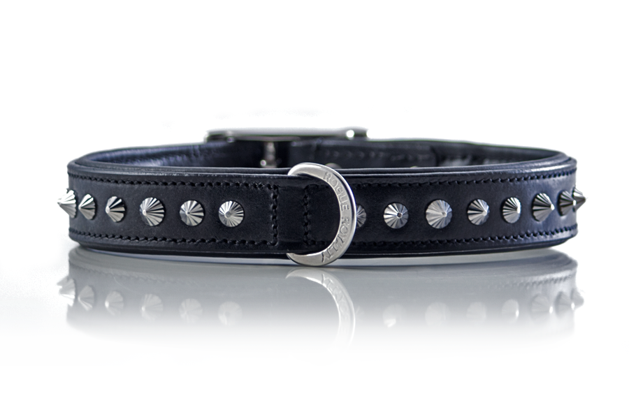 Diamond cut hand made leather dog collar by Rogue Royalty