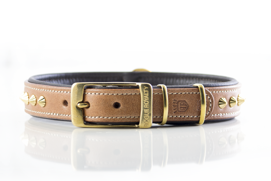Buy Tan & Brass Ruthless Slimfit Dog Collar Online