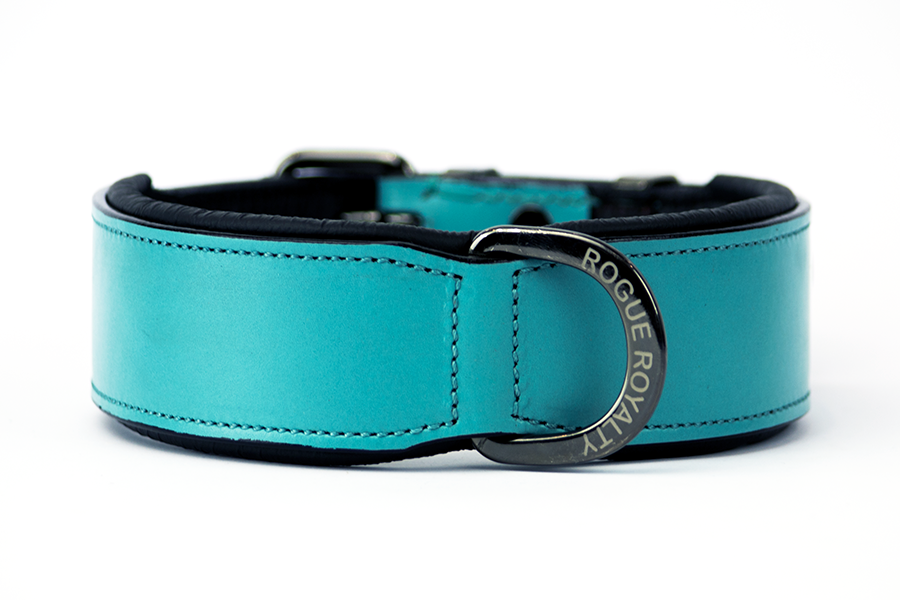 Leather Dog Collar - Teal Classic